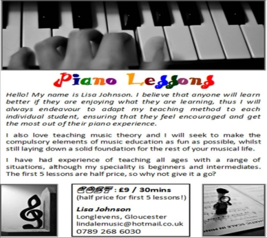 piano lessons advert